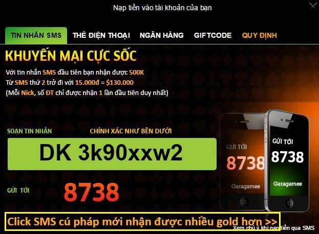 Hướng dẫn nạp Gold - SMS