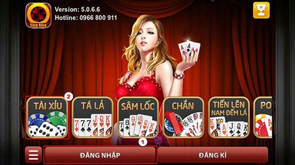 Màn hình đăng nhập game đánh bài Sảnh Rồng