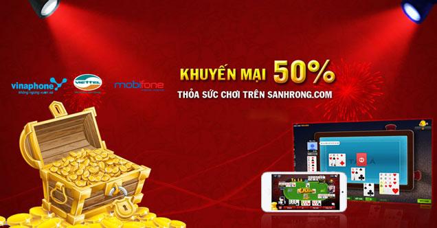 cổng game bài online Sảnh Rồng tung khuyến mãi 50% hấp dẫn